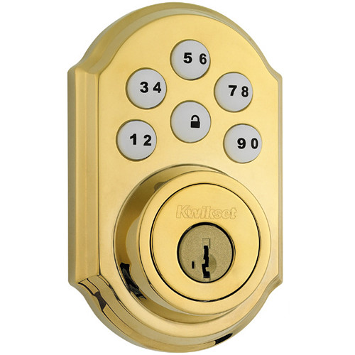 Kwikset Traditional SmartCode Deadbolt Lock with Z-Wave (Polished Brass)