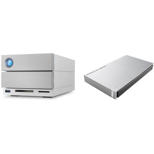 LaCie 8TB 2big Dock 2-Bay RAID Array Thunderbolt 3 & 1TB Rugged USB 3.1 Gen 1 Type-C External Hard Drive Kit