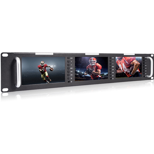 "Laizeske Triple 5"" 2RU 800 x 480 Broadcast LCD Rack Mount Monitor with 3G-SDI & HDMI AV Input/Output"