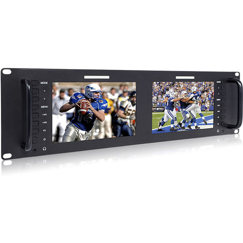 "Laizeske Dual 7"" 3RU IPS 1280x800 Broadcast LCD Rack Mount Monitor with 3G-SDI & HDMI AV Input/Output"