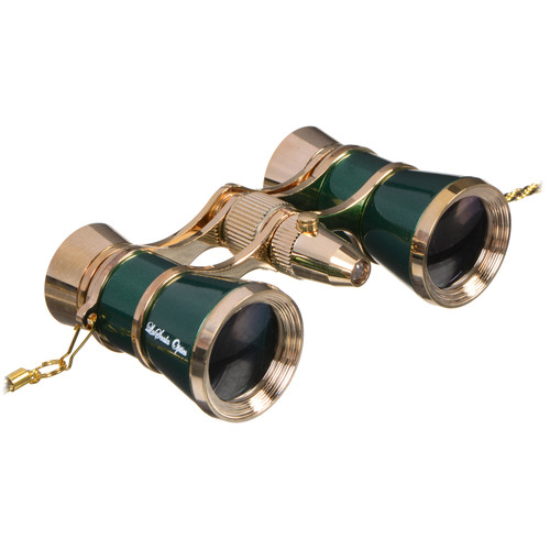 LaScala Optics 3x25 Carmen Opera Glasses with Red LED Flashlight (Green / Gold)