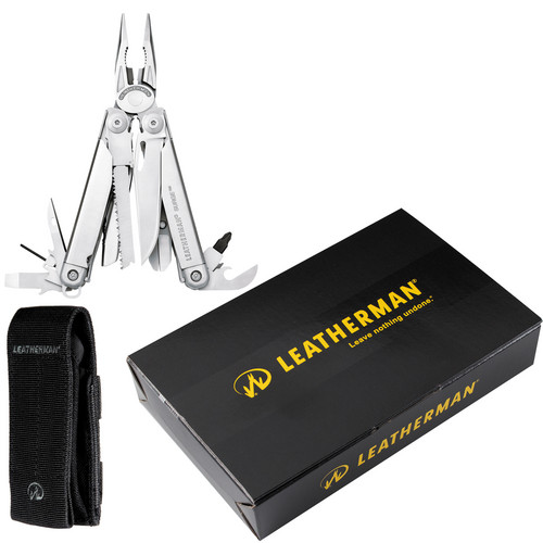 Leatherman Surge Stainless Steel Multitool with Black MOLLE Sheath (Black Oxide, Boxed)