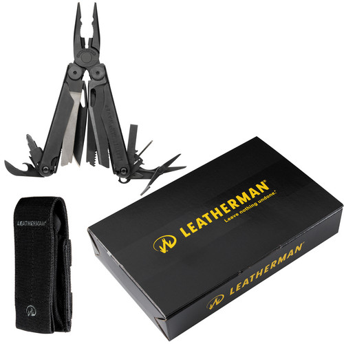Leatherman Wave Multi-Tool with Cap Crimper with Black Nylon MOLLE Sheath (Black Oxide)