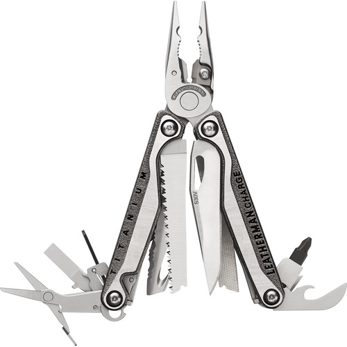 Leatherman Charge+ TTi Multi-Tool with Nylon Sheath with Pockets (Stainless,Clamshell Packaging)