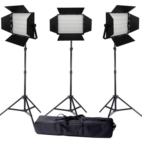 Ledgo Pro Series LED Bi-Color 1200 3-Light Kit with Stands and Bag