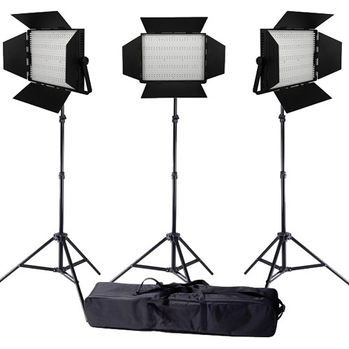 Ledgo Pro Series LED Daylight 1200 3-Light Kit with Stands and Bag