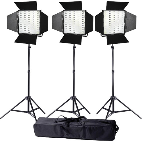 Ledgo Pro Series LED Bi-Color Panel 600 3-Light Kit with Stands and Bag