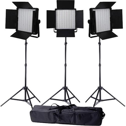 Ledgo Value Series LED Bi-Color 600 3-Light Kit with Stands and Bag