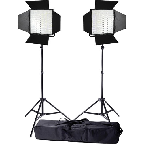 Ledgo Pro Series LED Daylight Panel 600 2-Light Kit with Stands and Bag