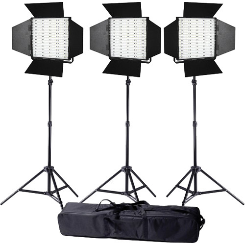 Ledgo Pro Series LED Daylight Panel 600 3-Light Kit with Stands and Bag
