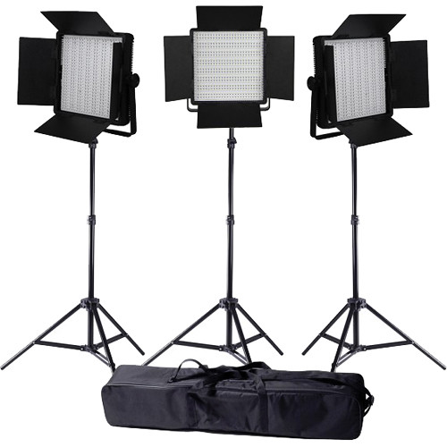 Ledgo Value Series LED Daylight 600 3-Light Kit with Stands and Bag