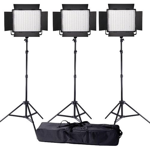 Ledgo Value Series LED Bi-Color 900 3-Light Kit with Stands and Bag