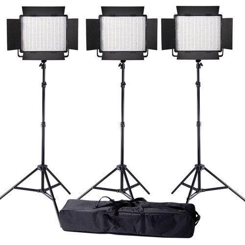 Ledgo Value Series LED Daylight 900 3-Light Kit with Stands and Bag