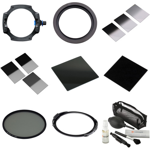 LEE Filters 100mm System Kit with 77mm Wide-Angle Lens Adapter Ring, Solid Neutral Density Filters, Graduated Neutral Density Filters, Circular Polarizer Filter, and Lens Cleaning Kit