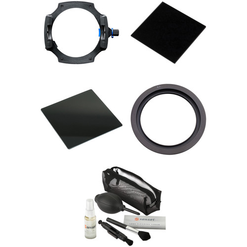 LEE Filters LEE100 Filter Holder Kit with 77mm Wide-Angle Lens Adapter Ring, 100 x 100mm Big Stopper 3.0 Neutral Density Filter, 100 x 100mm Little Stopper 1.8 Neutral Density Filter, and Lens Cleaning Kit