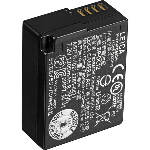 leica bp dc 12 lithium ion battery for leica q typ 116 19500 b h. Black Bedroom Furniture Sets. Home Design Ideas