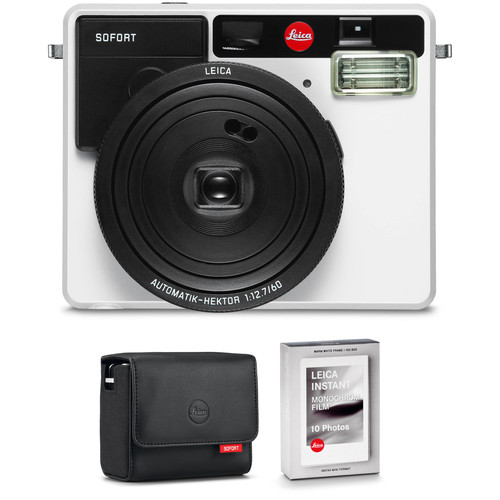 Leica Sofort Instant Film Camera with Case and Monochrom Film Kit (White)