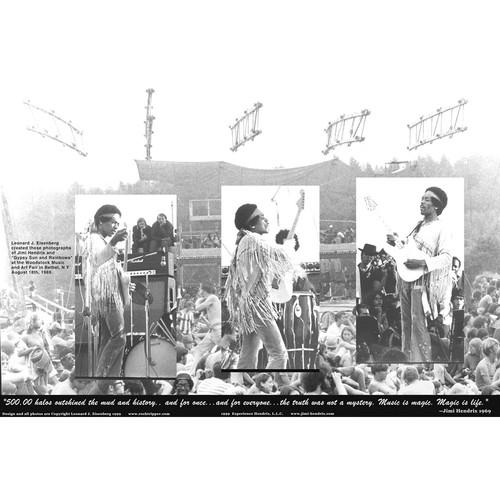 "Lenny Eisenberg Limited Edition Woodstock Festival Jimi Hendrix Poster (Signed, 20 x 29"", Black and White)"