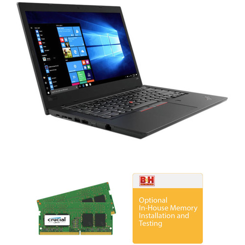 "Lenovo 14"" ThinkPad L480 Laptop with Crucial 32GB DDR4 RAM Upgrade (2 x 16GB) and In-House Installation Kit"