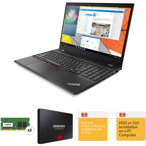 "Lenovo 15.6"" ThinkPad T580 Laptop with Crucial 16GB DDR4 RAM, Samsung 256GB SSD, and B&H Installation Services"