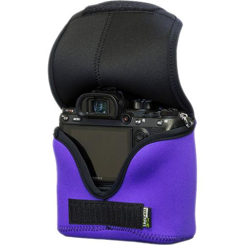 LensCoat BodyBag Mwith Grip for Sony Alpha a7 III, a7R III, a7R IV, a9, a9II (Purple)