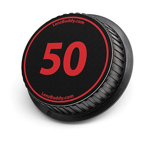 LenzBuddy 50mm Rear Lens Cap (Black & Red)