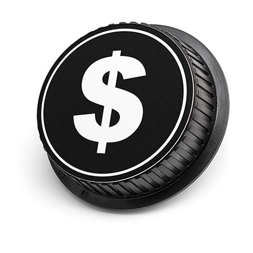 LenzBuddy Dollar Sign Rear Lens Cap for Canon (Black & White)