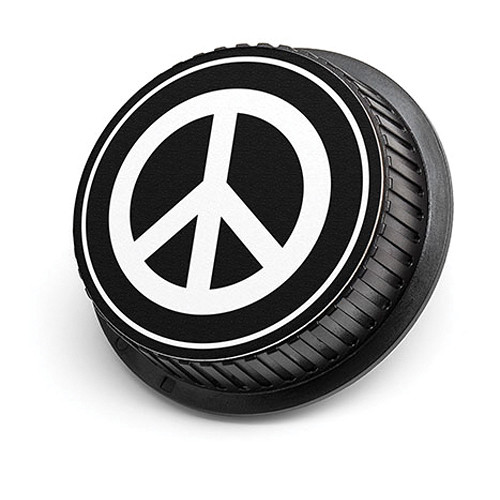 LenzBuddy Peace Sign Rear Lens Cap for Canon Cameras (Black & White)