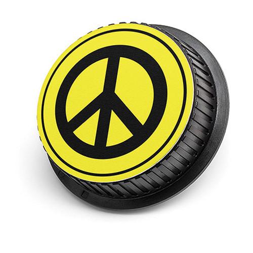 LenzBuddy Peace Sign Rear Lens Cap for Canon Cameras (Yellow)