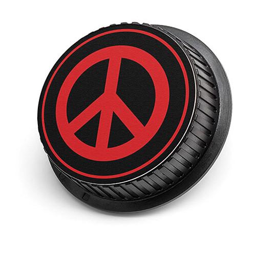 LenzBuddy Peace Sign Rear Lens Cap for Canon Cameras (Black & Red)
