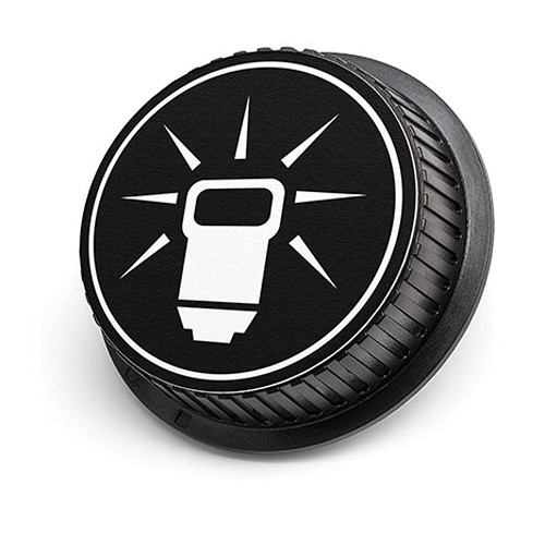 LenzBuddy Flash Icon Rear Lens Cap for Canon Cameras (Black & White)