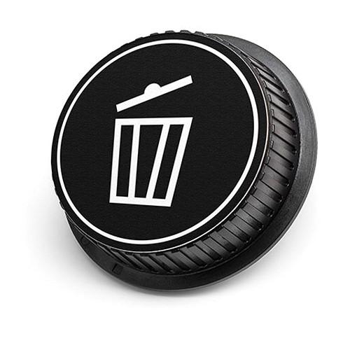 LenzBuddy Trash Icon Rear Lens Cap for Canon Cameras (Black & White)