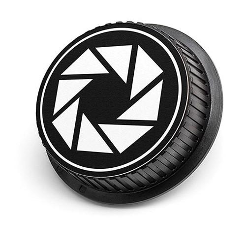 LenzBuddy Aperture Icon Rear Lens Cap for Canon Cameras (Black & White)