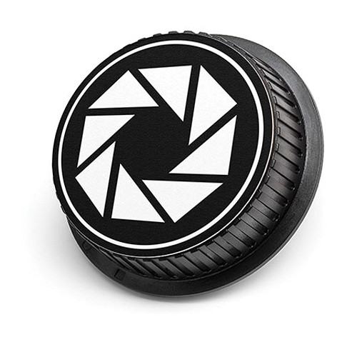 LenzBuddy Aperture Icon Rear Lens Cap for Canon Cameras (Black & White)