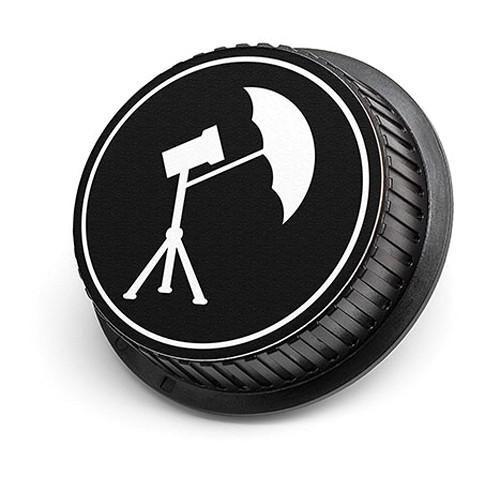 LenzBuddy Umbrella Icon Rear Lens Cap for Canon Cameras (Black & White)