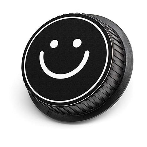 LenzBuddy Happy Face Rear Lens Cap for Nikon Cameras (Black & White)
