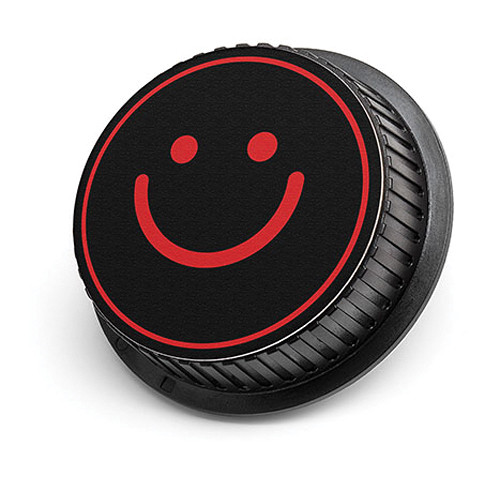 LenzBuddy Happy Face Rear Lens Cap for Nikon Cameras (Black & Red)
