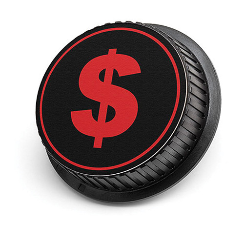 LenzBuddy Dollar Sign Rear Lens Cap for Nikon Cameras (Black & Red)