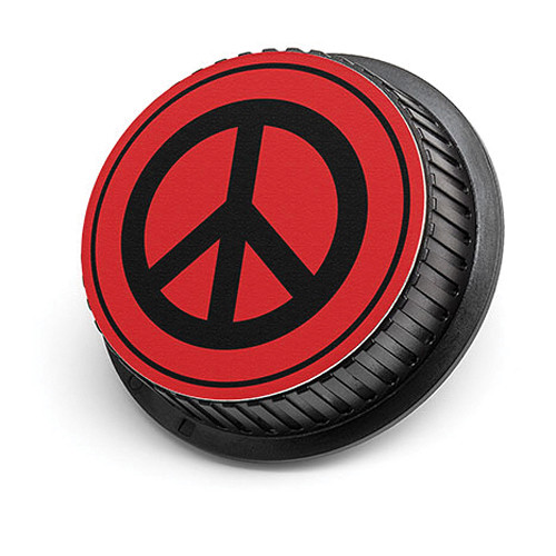 LenzBuddy Peace Sign Rear Lens Cap for Nikon Cameras (Red)