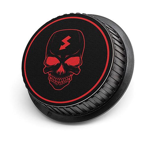 LenzBuddy Skull Rear Lens Cap for Nikon Cameras (Black & Red)