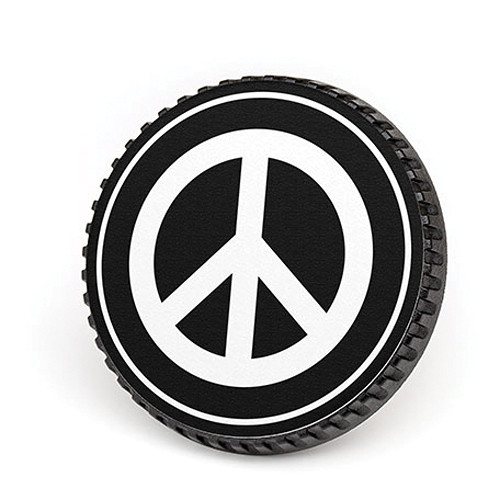 LenzBuddy Body Cap for Nikon F Mount Cameras (Peace Sign, Black/White)