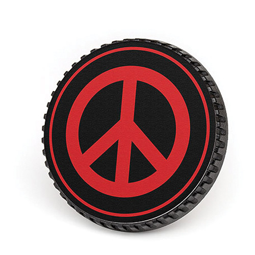 LenzBuddy Body Cap for Nikon F Mount Cameras (Peace Sign, Black/Red)