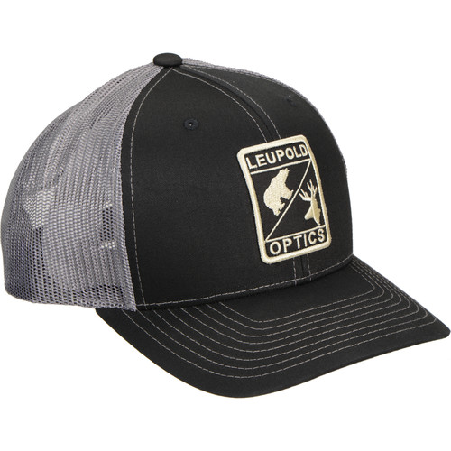 Leupold L Optic Trucker Hat (Black/Charcoal, One Size)