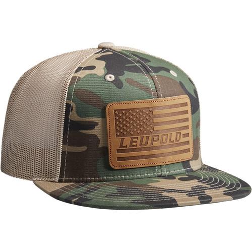 Leupold #511 Leather Flag Flat Bill Trucker Hat (One Size, Camo/Khaki)