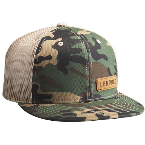Leupold #112 Leather Patch Trucker Hat (One Size, Camo/Khaki)