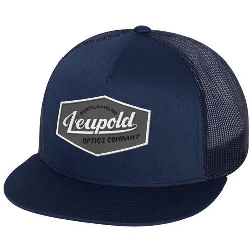 Leupold Gray Label Flat Brim Trucker Hat (Navy Blue)