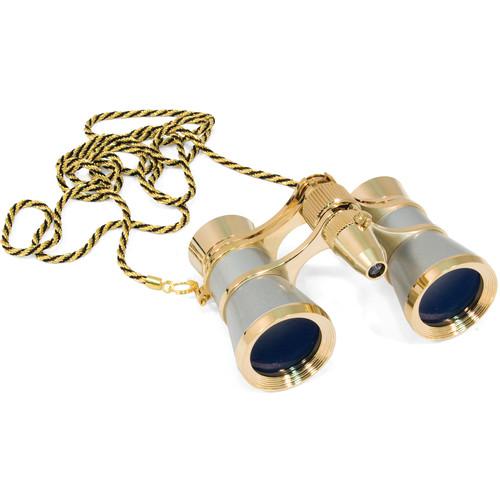 Levenhuk Broadway 325F Opera Glasses with Chain (Silver & Gold)
