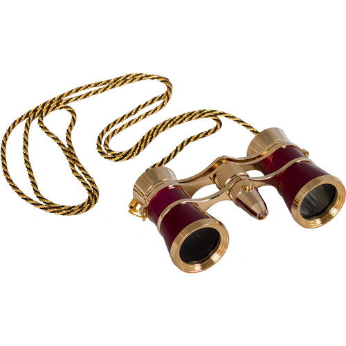Levenhuk Broadway 325F Opera Glasses with Chain (Red & Gold)