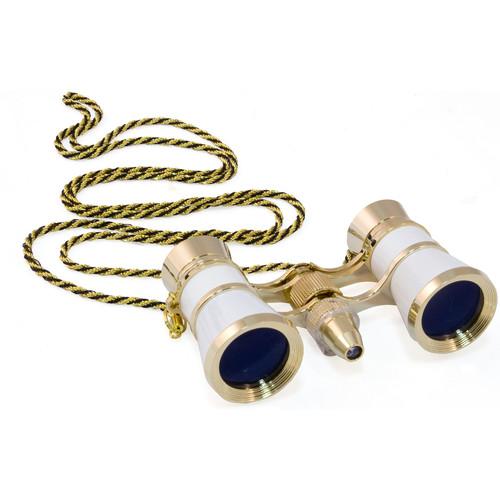 Levenhuk Broadway 325F Opera Glasses with Chain (White-Gold)