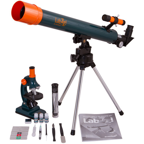 Levenhuk LabZZ MT2 Compound Microscope & 50mm Refractor AZ Telescope Kit